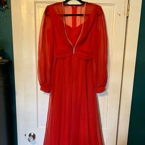 Vintage 1970s Red Rhinestone Gown Dress